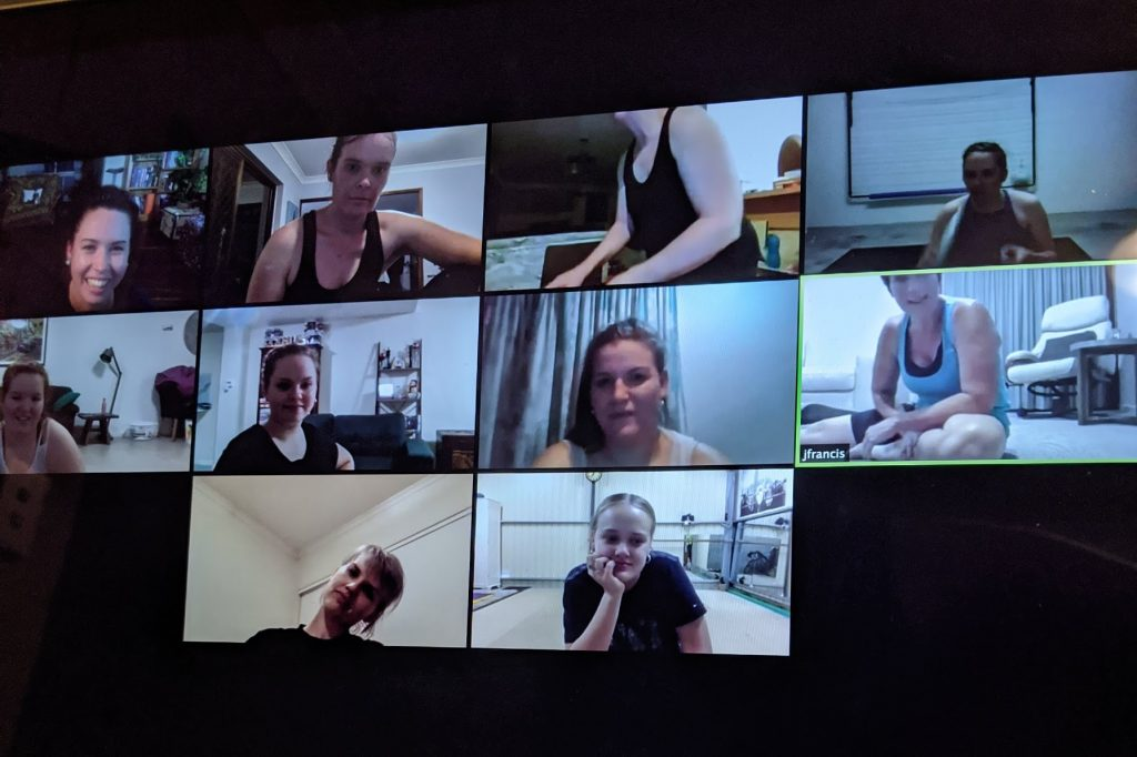 10 small rectangles of faces on a Zoom call
