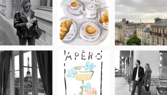 screen shot of an instagram feed showing some illustrations of coffee and photos of life in France